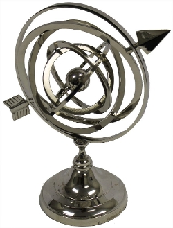 RedSkyTrader - Nickel Finish Armillary Sphere Globe