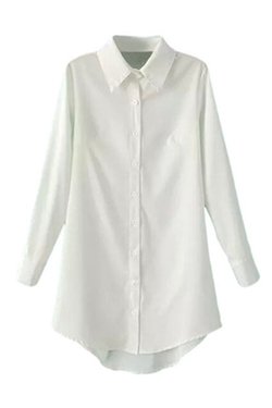 Romwe - Asymmetric Hem Slim Sheer White Shirt