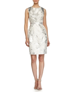 Carmen Marc Valvo  - Floral Brocade Cocktail Dress