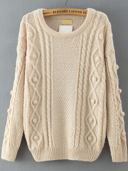 Romwe - Embellished Apricot Sweater