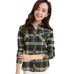 TLZC - Slim Plaid Print Pattern Cotton Shirts