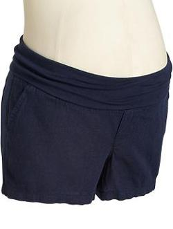Old Navy - Maternity Roll-Over Linen-Blend Shorts