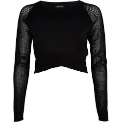 River Island - Wrap Front Mesh Sleeve Crop Top
