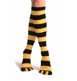 LissKiss - Stripes & Printed Smiles Knee High Socks