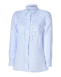 ERMANNO SCERVINO  - Pale Blue Linen Tuxedo Shirt
