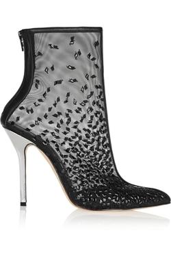 Oscar De La Renta - Camille Embellished Mesh Ankle Boots