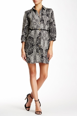 Pink Owl - Belted Print Shirt Dress