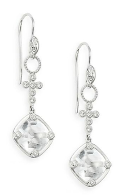 Jude Frances - White Topaz Gold Drop Earrings