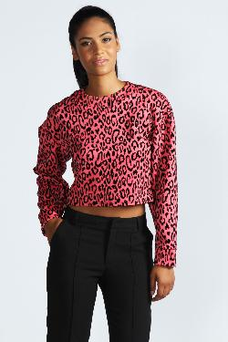 Boohoo - Layla Cocoon Sleeve Leopard Flock Print Top