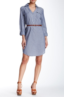 ECI  - Belted Chambray Shirt Dress