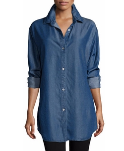 Go Silk - Long-Sleeve Button-Front Denim Shirt