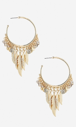 Express - Feather Charms Hoop Earrings