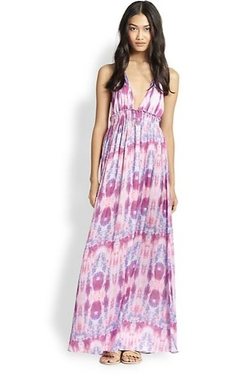 Loveshackfancy  - Jellyfish Tie-dyed Deep V- Neck Halter Maxi Dress