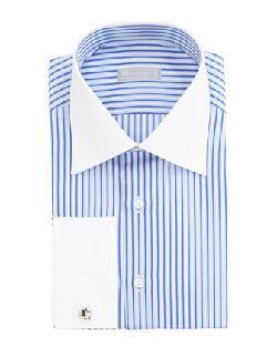 Stefano Ricci  - Striped Contrast-Collar Dress Shirt