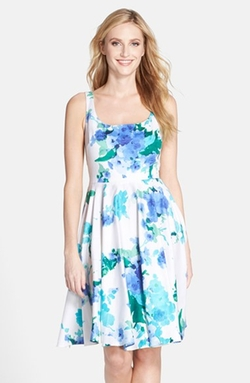 Donna Ricco - Floral Print Fit & Flare Dress