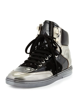 Jimmy Choo - Bradley Metallic High-Top Sneakers