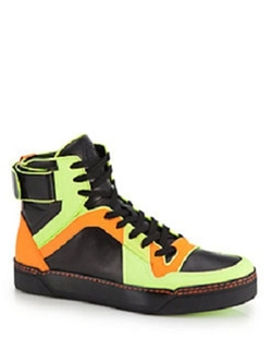 Gucci - Neon Leather High-Top Sneakers