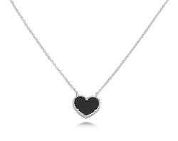 Kriskate & Co. - White Gold Black Onyx Heart Necklace