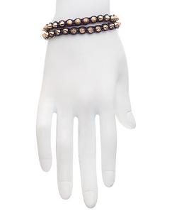 Max And Chloe - Serefina Black And Gold Spike Leather Bracelet