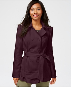 Celebrity Pink  - Double-Breasted Layered-Hem Peacoat