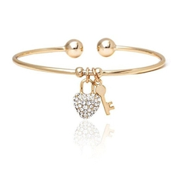 Ben&Jonah - Yellow Gold Filled Crystal Heart and Key Bangle