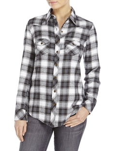 Angie - Plaid Two-Pocket Woven Shirt