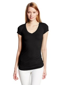 Velvet by Graham & Spencer - V-Neck Short Sleeve Fitted Tee Shirt