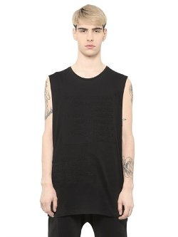 Blood Brother  - Text Embossed Sleeveless Cotton T-Shirt
