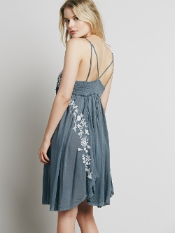 Free People - Embroidered Babydoll Slip Dress