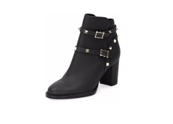 Valentino - Rockstud Leather Chunky-Heel Boots