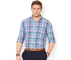 Polo Ralph Lauren  - Big and Tall Long Sleeve Linen Plaid Shirt