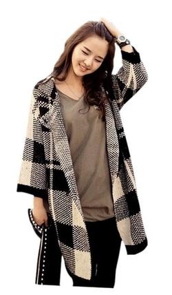 Arjosa - Women Ladies Long Sleeve Plaid Check Button Coat