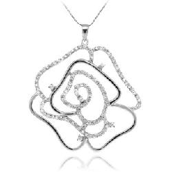 Bellast - FINE SILVER RHINESTONE CRYSTAL HOLLOW-CARVED ROSE WITH GOLD PLATED LONG NECKLACE SILVER