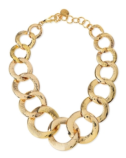 Nest Jewelry - Hammered Gold-Plated Chain Link Necklace