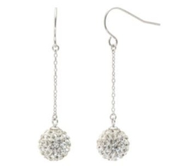 JCPenney - Sterling Silver Crystal Ball Linear Drop Earrings