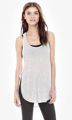 Express - White Nep Knit One Eleven Racerback Tank Top