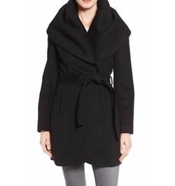 T Tahari  - Wool Blend Belted Wrap Coat