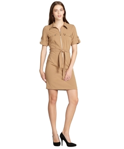 SD Collection - Stretch Knit Belted Shirt Dress