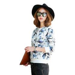 Hstyle - Chiffon Floral Print Sweatshirt