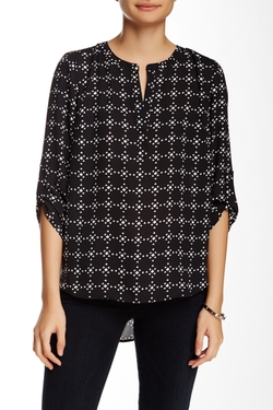 Daniel Rainn  - Roll Sleeve Split Neck Blouse
