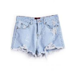 She Chick - Blue Pockets Ripped Denim Shorts