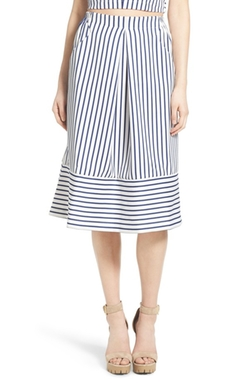 J.O.A.  - Cotton Poplin Stripe Midi Skirt