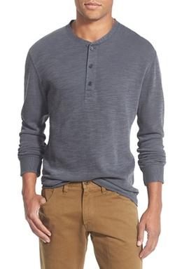 Billy Reid - Hunter Textured Long Sleeve Henley Shirt