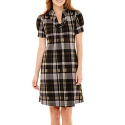 Jessica Howard - Cowlneck Plaid Shift Dress