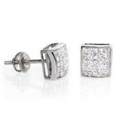 My Dia Land  - Princess Cut Diamond Stud Earrings
