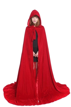 Baju - Adult Renaissance Red Velvet Hooded Cloak
