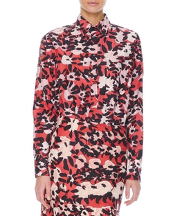 Marni   - Long-Sleeve Floral-Print Chest-Pocket Blouse