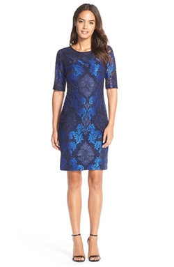 Donna Ricco - Embroidered Lace Sheath Dress