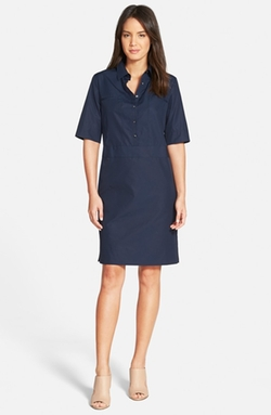 Nordstrom Collection  - Elbow Sleeve Cotton Poplin Shirtdress