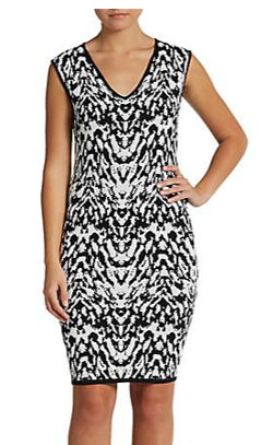 Carmen Marc Valvo - Printed V-Neck Dress